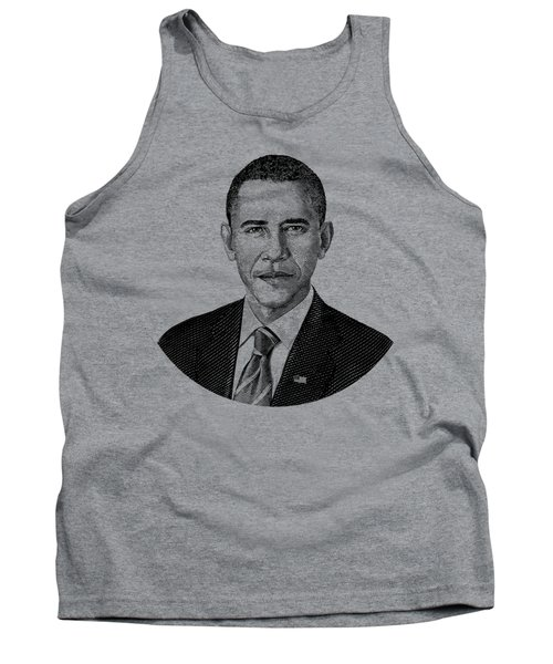 President Barack Obama Graphic Black And White Tank Top by War Is Hell Store