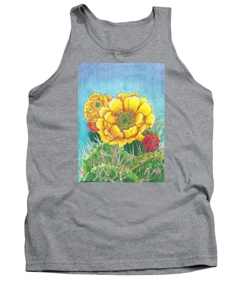 Tank Top featuring the drawing Prickly Pear Cactus Flowering by Dawn Senior-Trask