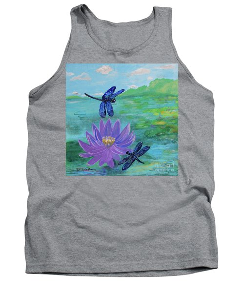 Purple Water Lily And Dragonflies Tank Top