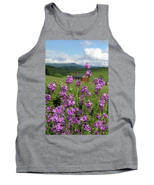 Purple Wild Flowers On Field Tank Top by Emanuel Tanjala