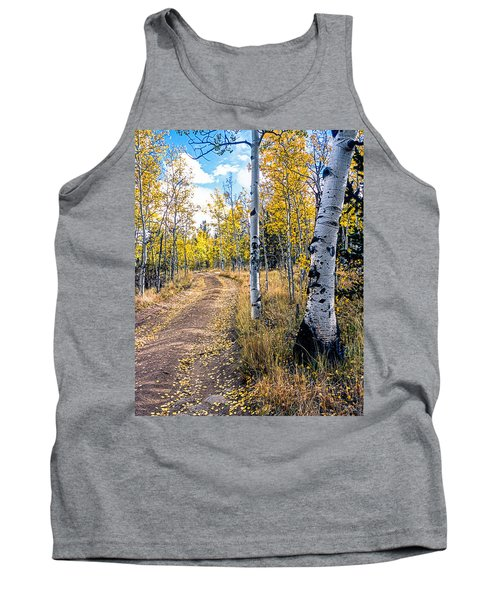 Aspens In Fall With Road Tank Top