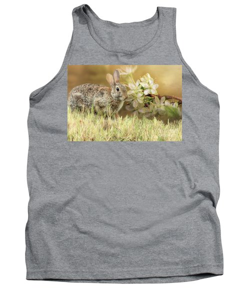 Eastern Cottontail Rabbit In Grass Tank Top