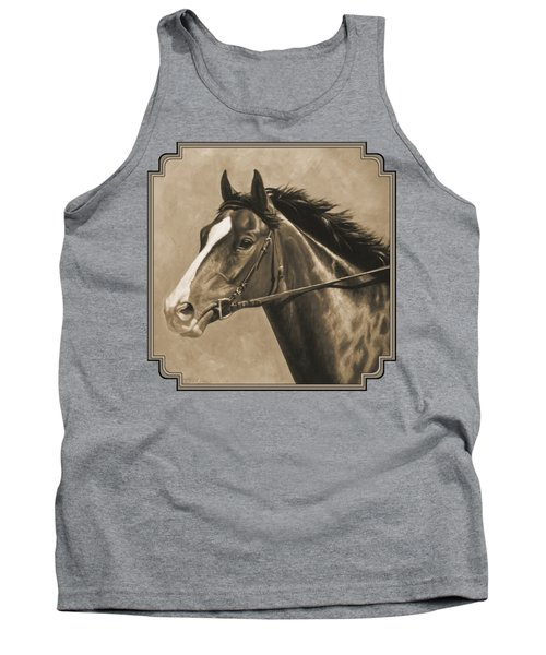 Racehorse Painting In Sepia Tank Top by Crista Forest