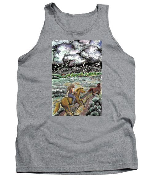 Tank Top featuring the drawing Racing The Lightning Home by Dawn Senior-Trask