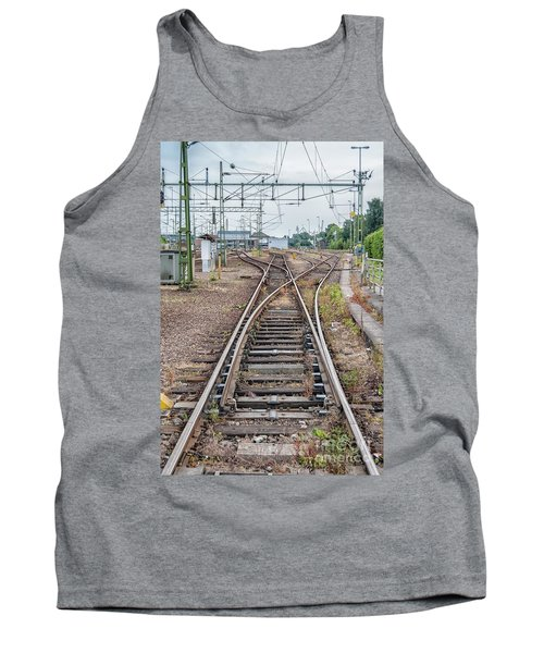 Tank Top featuring the photograph Railroad Tracks And Junctions by Antony McAulay