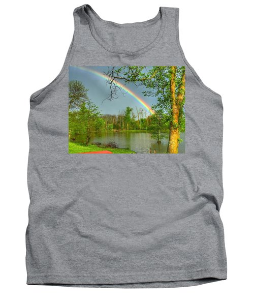 Tank Top featuring the photograph Rainbow At The Lake by Sumoflam Photography