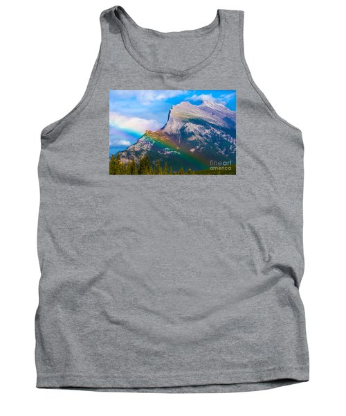 Rainbow On Mt Rundle Tank Top by John Roberts