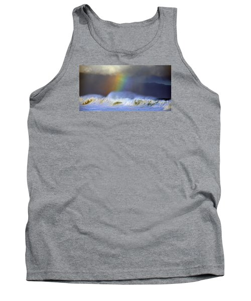 Tank Top featuring the photograph Rainbow On The Banzai Pipeline At The North Shore Of Oahu 2 To 1 Ratio by Aloha Art