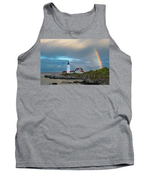 Rainbow Over Portland Head Light Tank Top