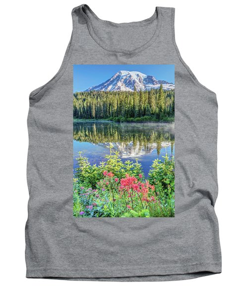 Rainier Wildflowers At Reflection Lake Tank Top