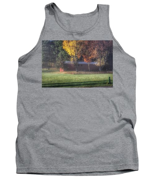0041 - Red Barn On A Foggy Fall Morning Tank Top