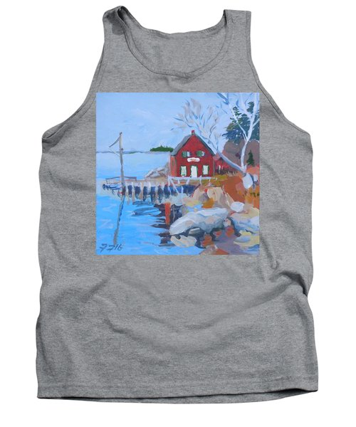 Tank Top featuring the painting Red Boat House by Francine Frank