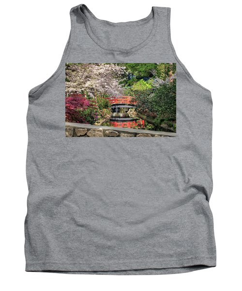 Red Bridge Spring Reflection Tank Top by James Eddy
