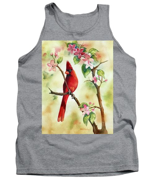 Red Cardinal And Blossoms Tank Top