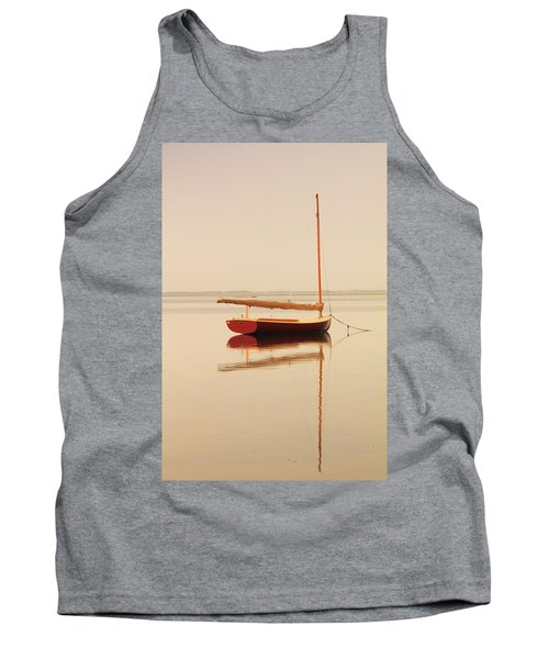 Red Catboat On Misty Harbor Tank Top