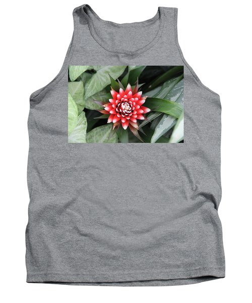 Red Flower With White Tips Tank Top