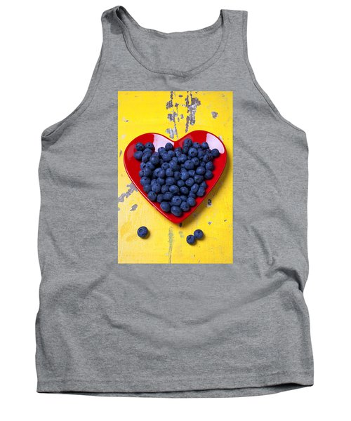 Red Heart Plate With Blueberries Tank Top by Garry Gay