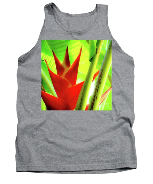 Red Heliconia Plant Tank Top