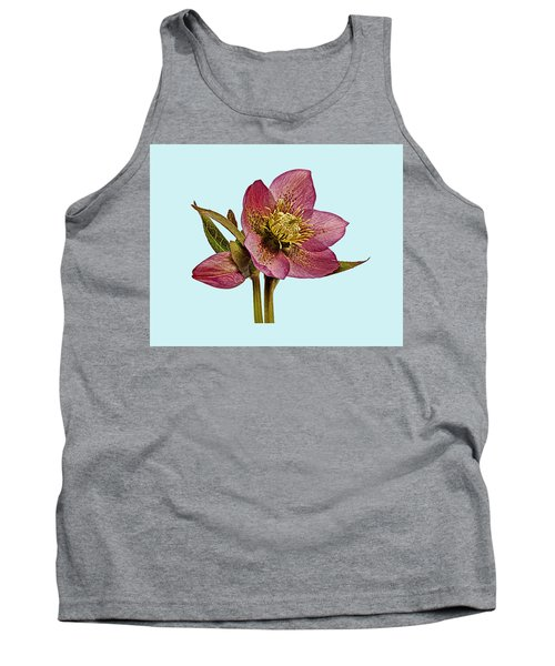 Red Hellebore Blue Background Tank Top by Paul Gulliver