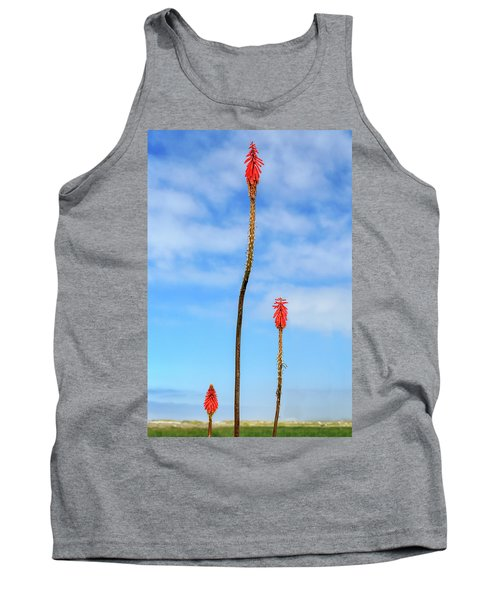 Tank Top featuring the photograph Red Hot Pokers by James Eddy