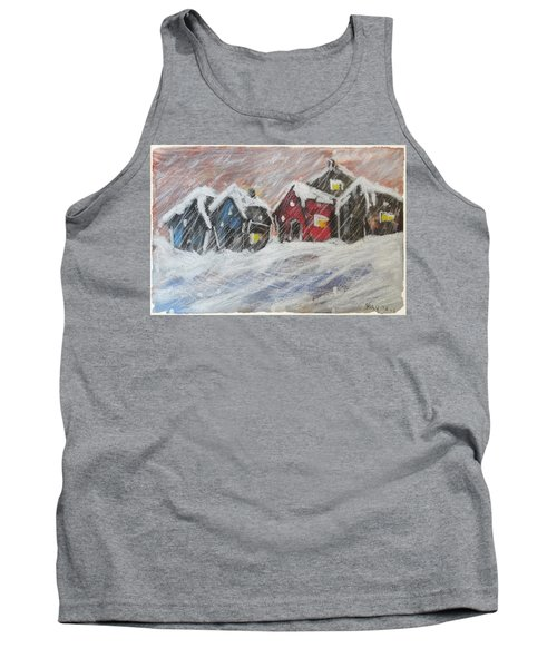 Red House In The Snow Tank Top