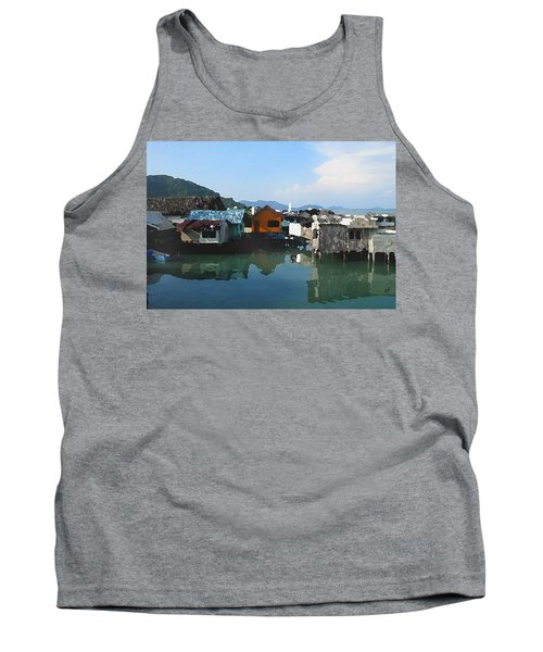 Tank Top featuring the digital art Red House On The Water by Shelli Fitzpatrick