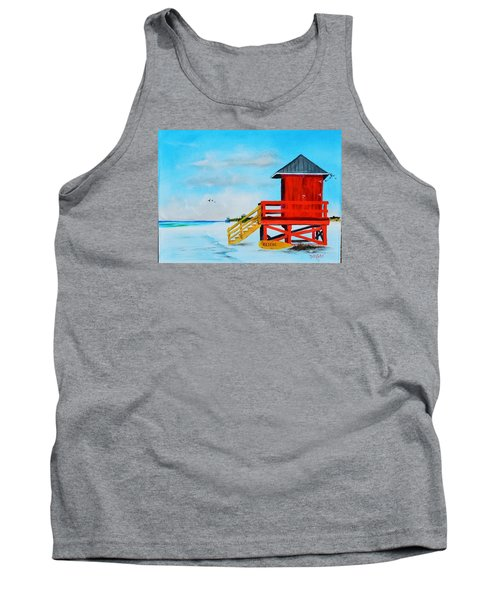 Red Life Guard Shack On The Key Tank Top by Lloyd Dobson