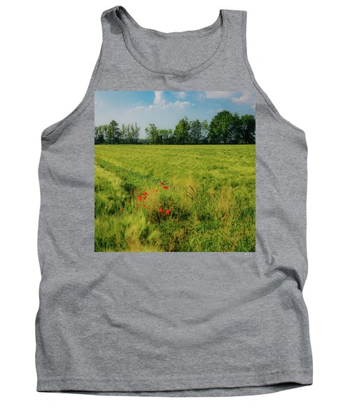 Red Poppies On A Green Wheat Field Tank Top