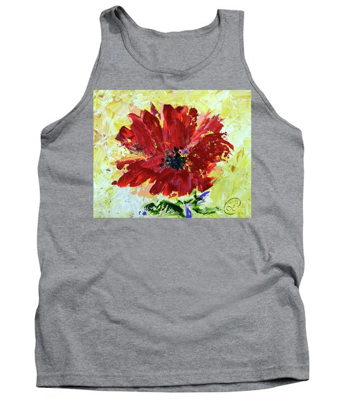 Red Poppy Tank Top by Lynda Cookson