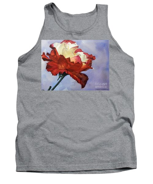 Watercolor Of A Red And White Rose On Blue Field Tank Top