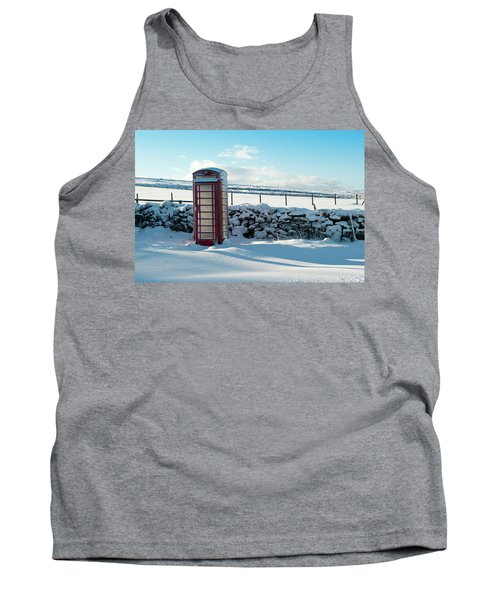 Red Telephone Box In The Snow V Tank Top