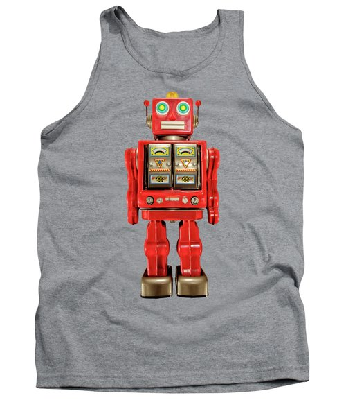 Tank Top featuring the photograph Red Tin Toy Robot Pattern by YoPedro