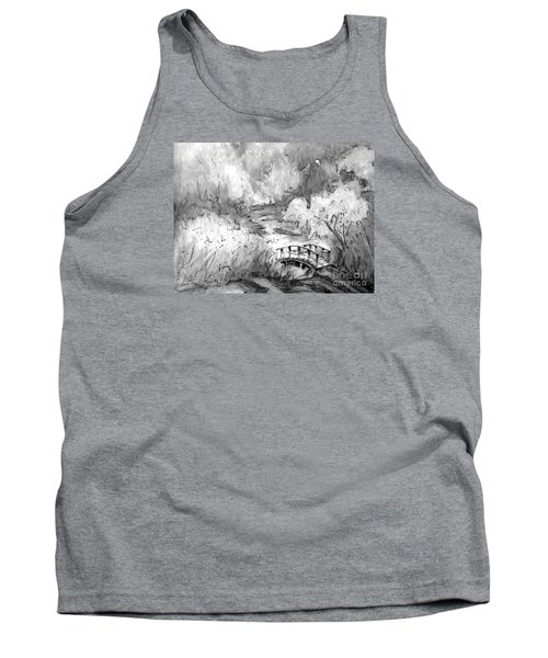 Red Top Mountain Bridge In Black And White Tank Top