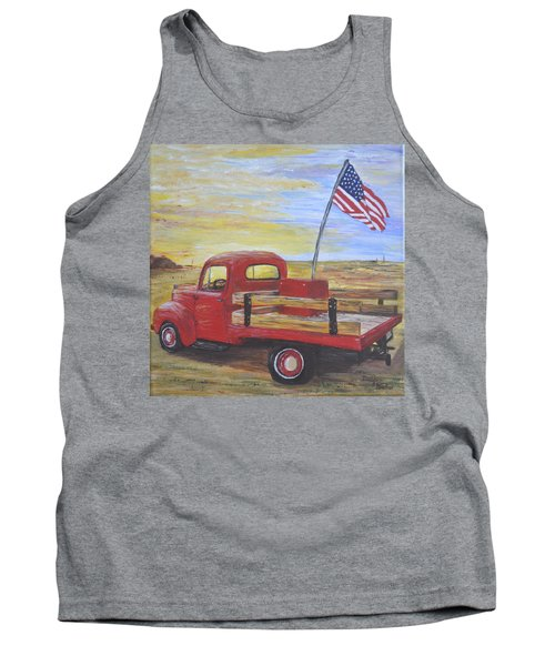 Tank Top featuring the painting Red Truck by Debbie Baker