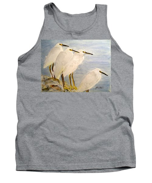 Resting Egrets Tank Top by Carol Grimes