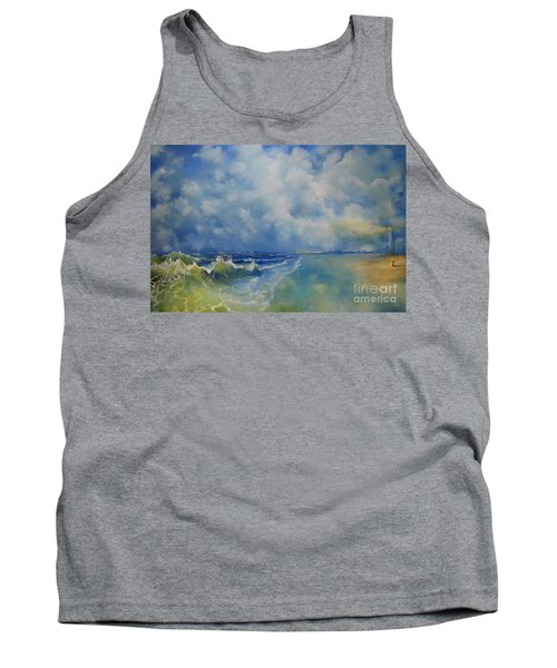 Tank Top featuring the painting Retrospection Seascape by Maja Sokolowska