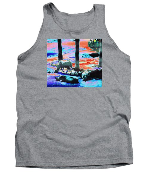 Rhinos Having A Picnic Tank Top by Abstract Angel Artist Stephen K