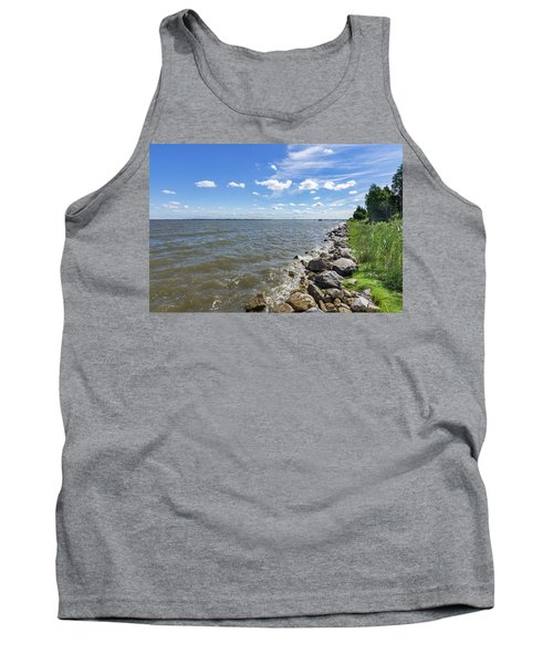 Tank Top featuring the photograph Rip-rap On The Chester River by Charles Kraus