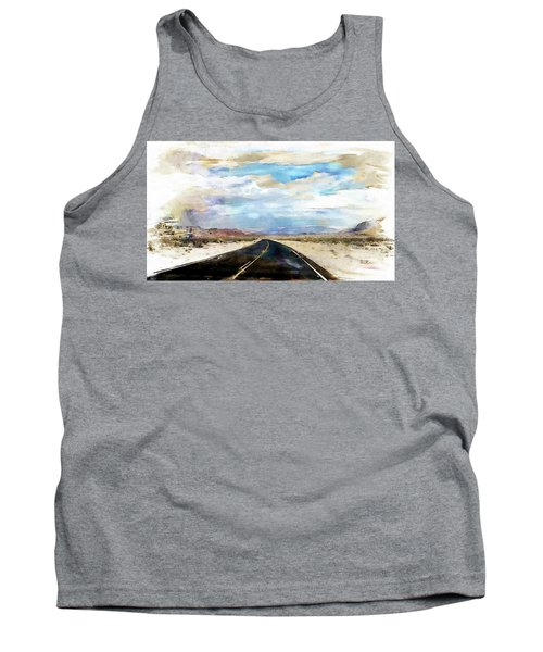 Tank Top featuring the digital art Road In The Desert by Robert Smith