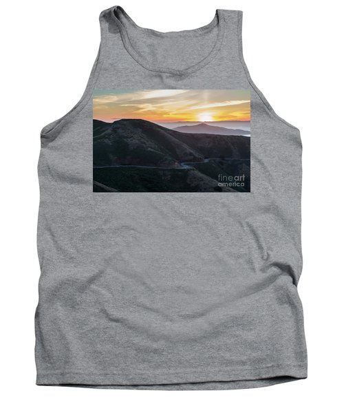 Road On The Edge Of The Mountain With Sunrise In The Background Tank Top