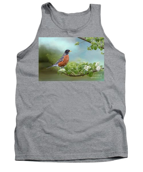 Tank Top featuring the photograph Robin In Chinese Fringe Tree by Bonnie Barry