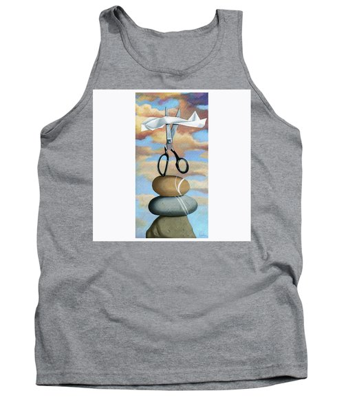 Tank Top featuring the painting Rock, Paper, Scissors by Linda Apple