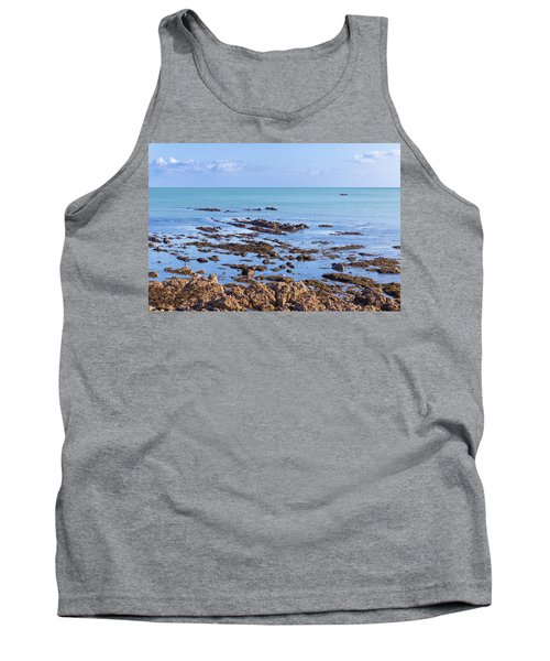 Tank Top featuring the photograph Rocks And Seaweed And Seagulls In The Irish Sea At Howth by Semmick Photo