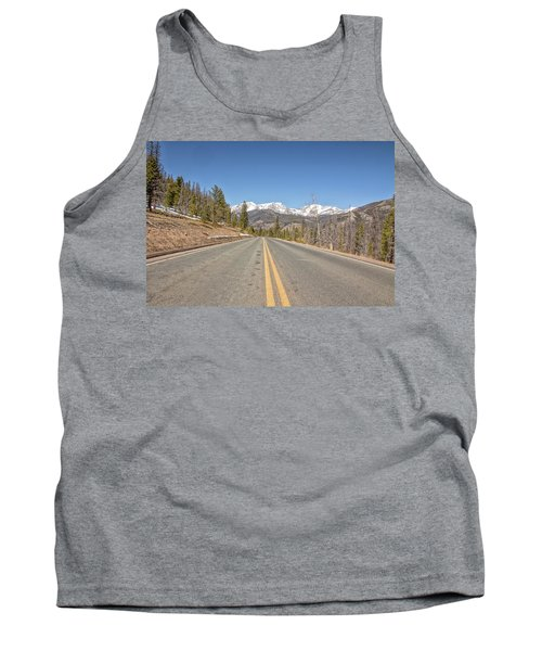 Tank Top featuring the photograph Rocky Mountain Road Heading Towards Estes Park, Co by Peter Ciro