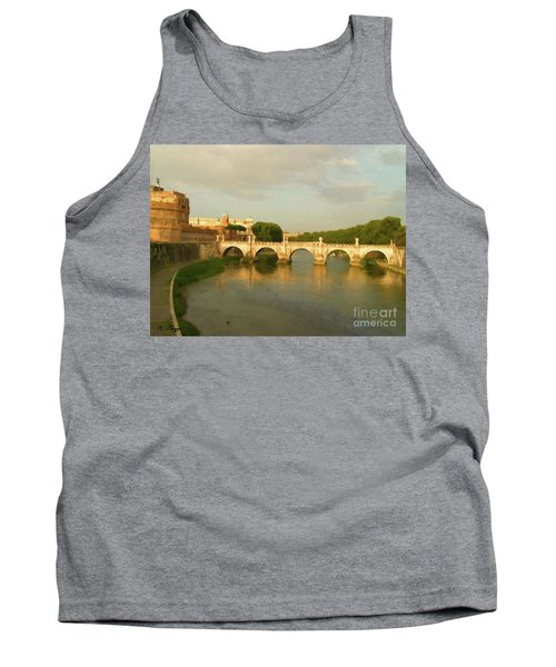 Tank Top featuring the painting Rome The Eternal City And Tiber River by Rosario Piazza