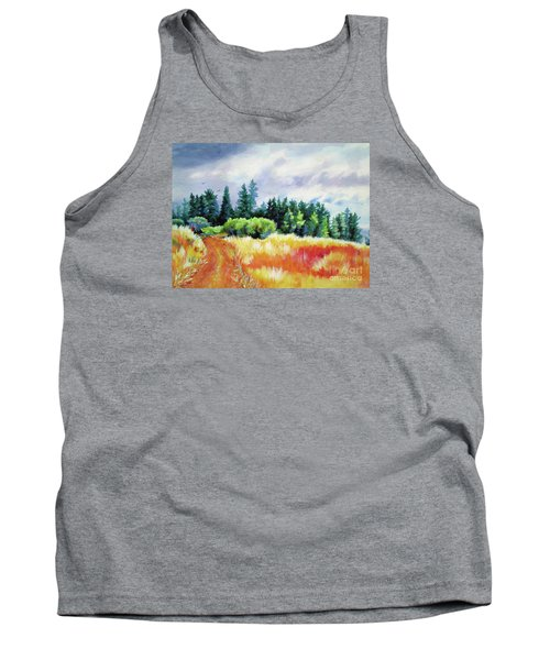 Tank Top featuring the painting Romp On The Hill by Kathy Braud