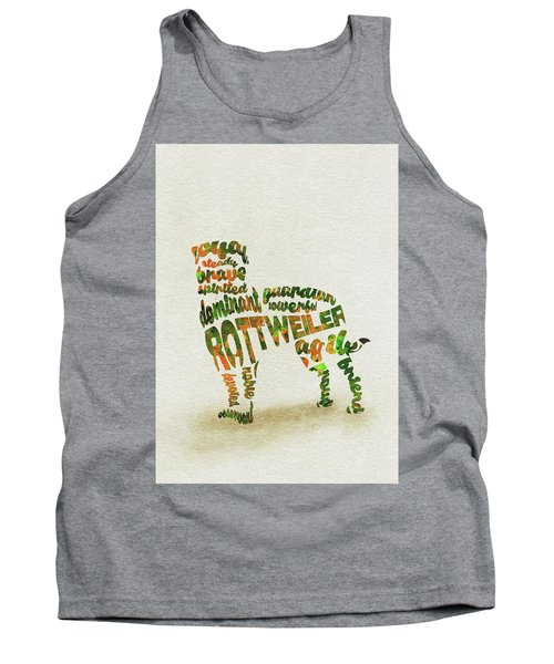 Tank Top featuring the painting Rottweiler Dog Watercolor Painting / Typographic Art by Ayse and Deniz