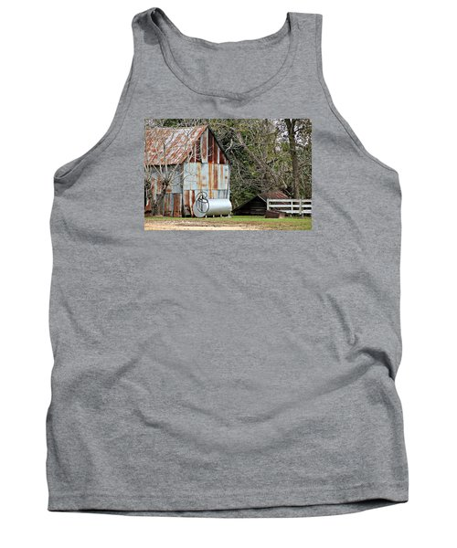 Rusted Tin Shed In Burnt Corn Tank Top by Lynn Jordan