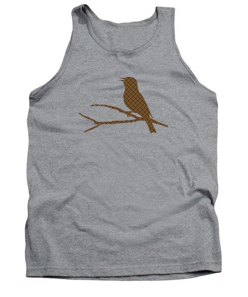 Rustic Brown Bird Silhouette Tank Top