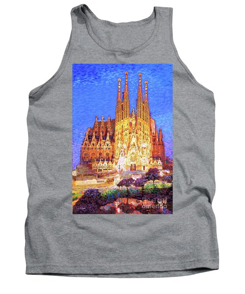 Tank Top featuring the painting Sagrada Familia At Night by Jane Small